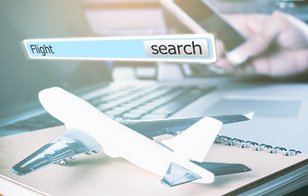 3D flight search box for online travel agency concept