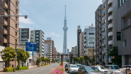 Tokyo; Japan - May 5; 2017: Cars are traveling in Sumida Street to Tokyo Skytree. Editorial