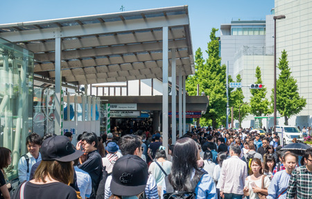 Tokyo; Japan - May 5; 2017: Wave of people are trying to get in to Harajuku station on Golden week holidays. Editorial