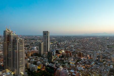 Tokyo; Japan - May 5; 2017: Tokyo city space with Shinjuku Skyscrapers at Dawn. Editorial