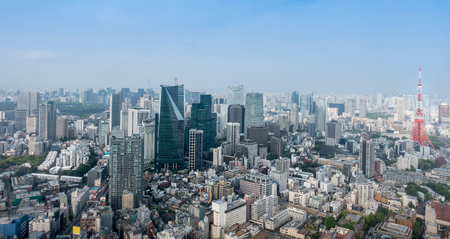 Tokyo Metopolis Cityscape with Tokyo tower and skyscrapers Stock Photo