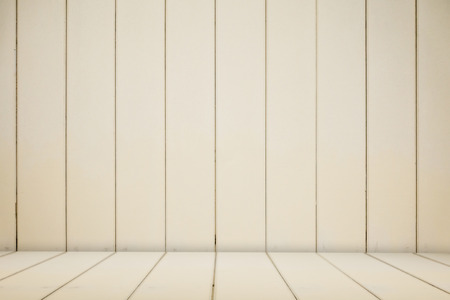 Cream Wooden stage shelf table background for mock up Stock Photo