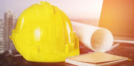 Civil Construction Engineer working desk double exposure Banco de Imagens