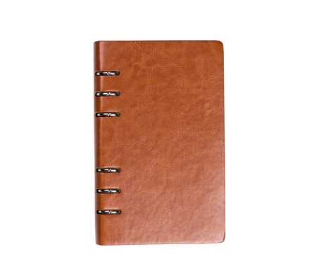 Leather brown notebook binder isolated on white