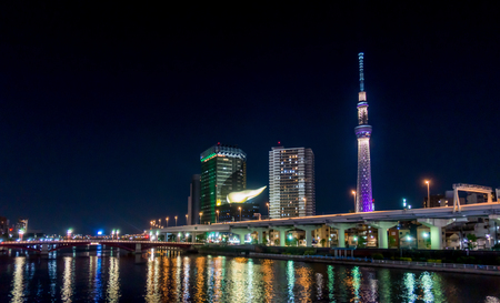 Tokyo, Japan - May 2, 2017: The Tokyo Skytree is lit up at night.