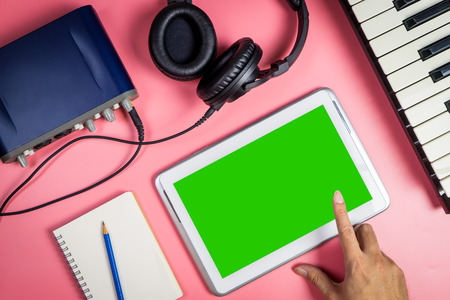 Blank tablet for Musician and Music producer application mock up
