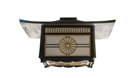 Japanese green wooden lantern isoalted on white Stock Photo