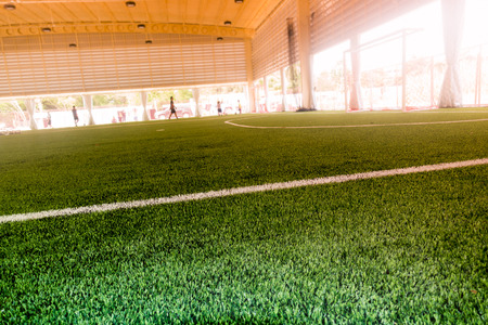 Inddor Soccer sport field with artificial grass