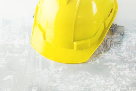 engineer Safety Helmet on city white background Reklamní fotografie - 82014140