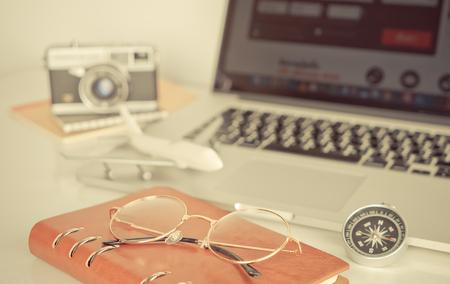 Travel diary journey writer on white desk Stock Photo