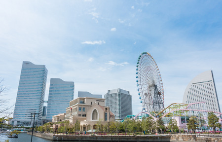 Tokyo, Japan - May 6, 2017: Yokohama Cosmo world Amusement park in Yokohama Bay.