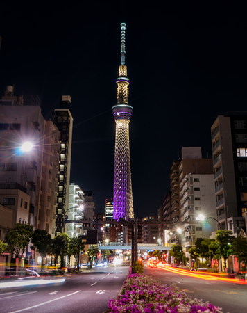 Tokyo, Japan - May 2, 2017: The Tokyo Skytree is lighten up at night. Editorial
