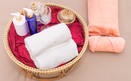 Thai Spa towel and objects for Oil Massaging