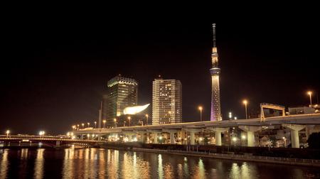 Tokyo, Japan - May 2, 2017: Tokyo Skytree and Asahi building is lighten up at night.