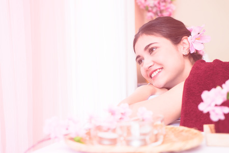 Happy women in Spa with sweet pink toning Stock Photo