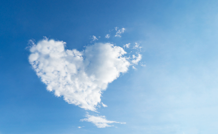 Love Heart shaped cloud blue sky for love and romance concept