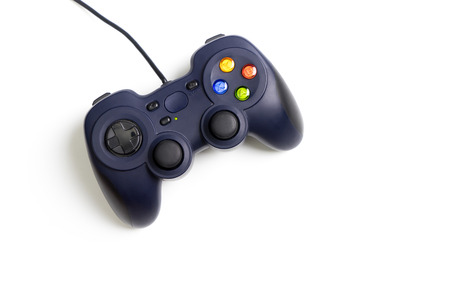 Blue wired Computer game pad isolated on white