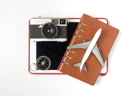 Travel objects and travel accessories for Travel cocnept on white