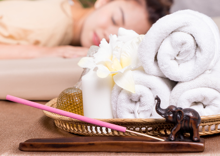 Massage Spa Towels and objects beside spa bed Stock Photo