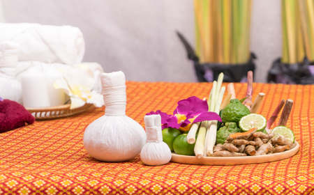 Spa herb and objects for Thai Massage spa Stock Photo - 88452655