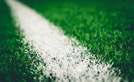 축구 공예 잔디 필드에 흰색 라인 스톡 콘텐츠