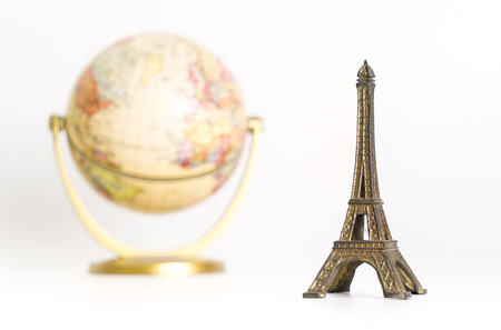 Eiffel tower with vintage world for vintage travel concept