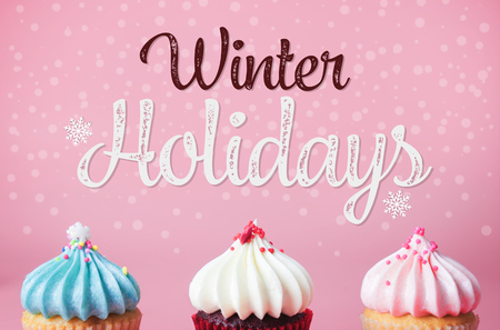 Winter Holidays Celebration poster with cupcake on pink background