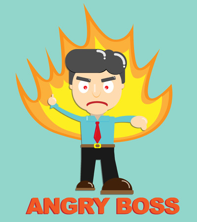 Fire burning Angry Boss Vector character Business concept Çizim