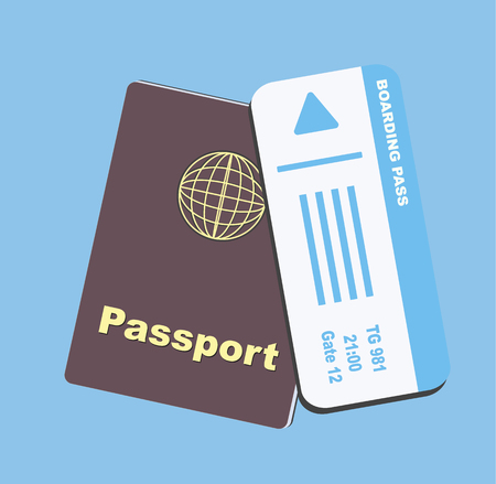 Blue boarding pass and brown passport flat on blue background