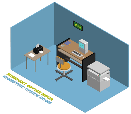 Isometric Empty Office at midnight with computer desk printer photocopy machine Çizim