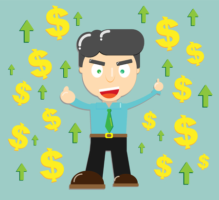Happy office worker with money and arrow growing up for success concept