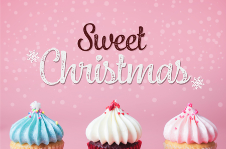 Three cupcake on pink background for sweet christmas party concept Stock Photo
