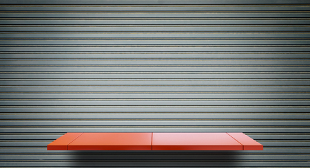 Empty Red Metal shelf on grungy metal gate background