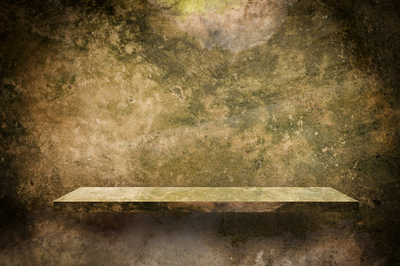 Empty cement shelf with dirty moss cement surface Stock Photo