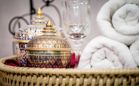 Thai Asian style Spa objects on wooden display Stock Photo - 90592758
