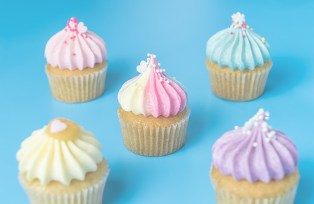 Five mini cupcake on blue pastel background Imagens