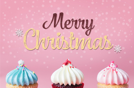 Merry Christmas with Pastel cupcake party poster Stock Photo