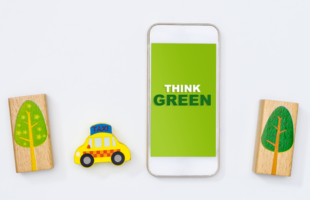 Think green Use Public transportation and share economy to save the environment Imagens