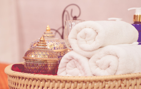 Thai Style luxury spa equipment objects on wooden tray Stock Photo