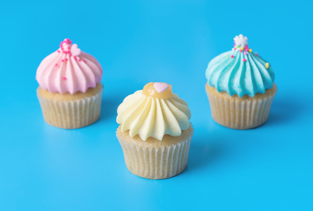 Three pastel colorful Mini cupcake muffin on blue background
