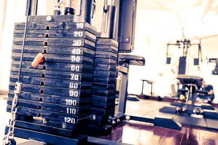 Metal Weight stack on Fitness training machine