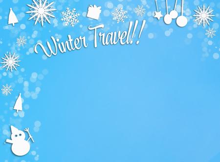 青い雪の背景に白いクリスマスの飾り枠の境界線 写真素材