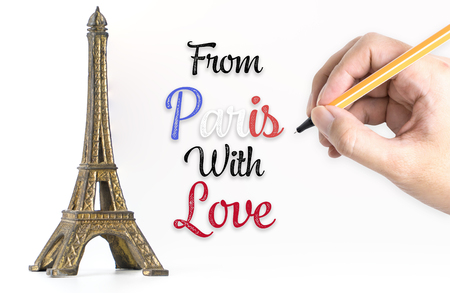 Hand writting From Paris with Love with eiffel tower