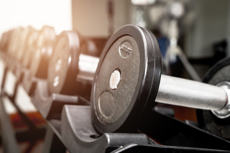 Fitness dumbbell line up in a row on a shelf Stock Photo