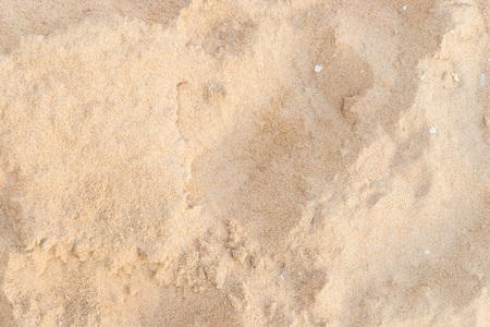 Praia de areia vista superior com rocha e concha para fundo de textura