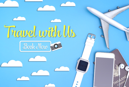 Travel with us now website banner with travel gadgets poster
