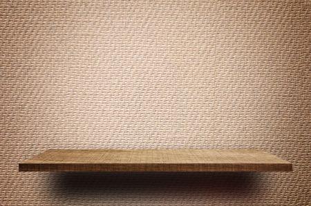 Empty Brown display wooden shelf counter brown Vintage paper texture