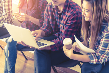 Team of Start up business owner in co working space Stock Photo