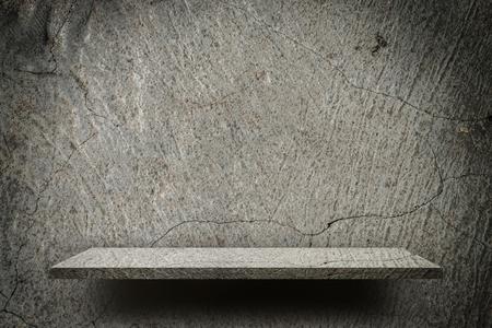 Rough broken crack gray empty shelf display