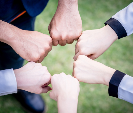 hand and Fists circle together for team concept Stok Fotoğraf